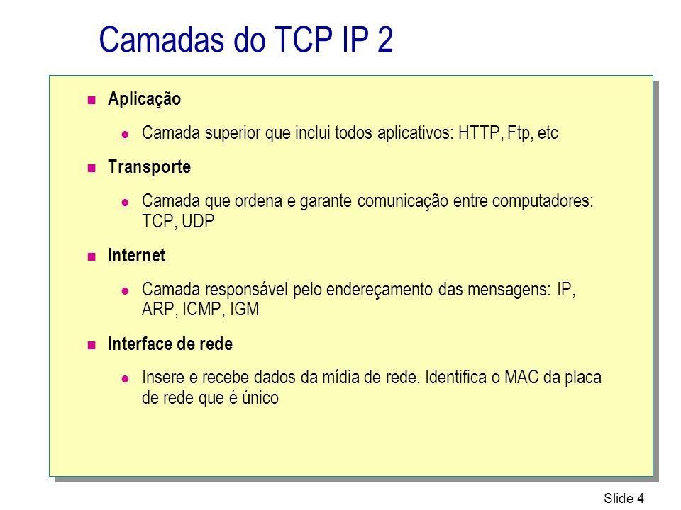 Slide 35 Determinando Hosts remotos 11 192.168.1.100 Hosts remotos 22 Router A A B B C C D D E E F F 255.255.255.0255.255.255.0 Máscara de sub-rede Roteador 192.168.2.100