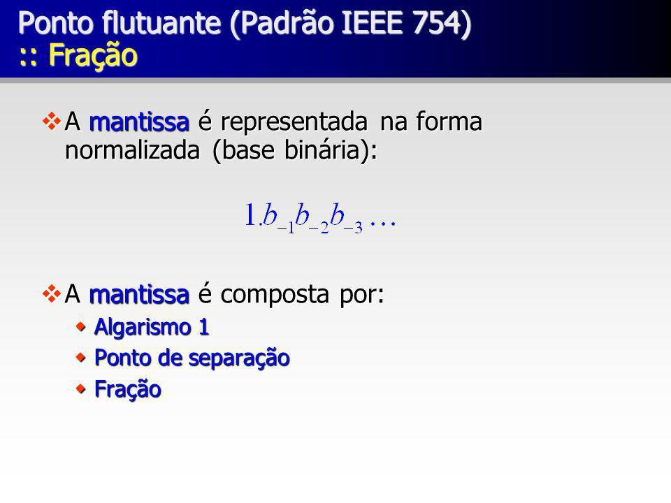 Ponto flutuante (Padrão IEEE 754) :: Fração vA mantissa é representada na forma normalizada (base binária): vA mantissa é composta por: wAlgarismo 1 w