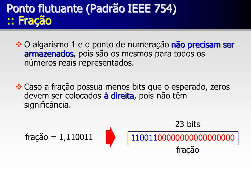 vO algarismo 1 e o ponto de numeração não precisam ser armazenados, pois são os mesmos para todos os números reais representados. vCaso a fração possu