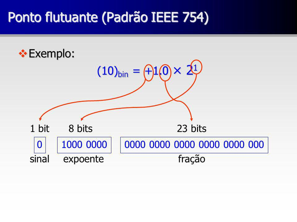 vExemplo: (10) bin = +1.0 × 2 1 0 1 bit sinal 0000 0000 0000 0000 0000 000 23 bits fração 1000 0000 8 bits expoente Ponto flutuante (Padrão IEEE 754)