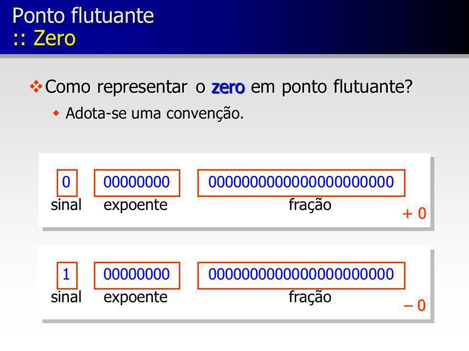 0000000000000000000000000000000 fraçãoexpoentesinal 1000000000000000000000000000000 fraçãoexpoentesinal + 0 – 0 Ponto flutuante :: Zero vComo representar o zero em ponto flutuante.