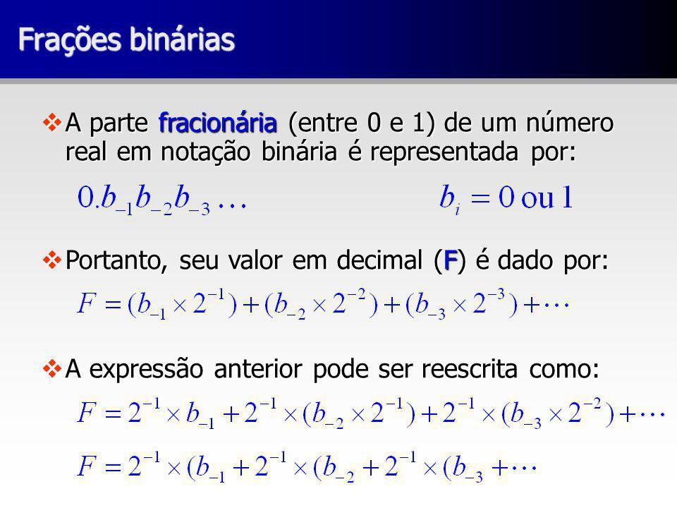 Frações binárias vA parte fracionária (entre 0 e 1) de um número real em notação binária é representada por: vPortanto, seu valor em decimal (F) é dado por: vA expressão anterior pode ser reescrita como: