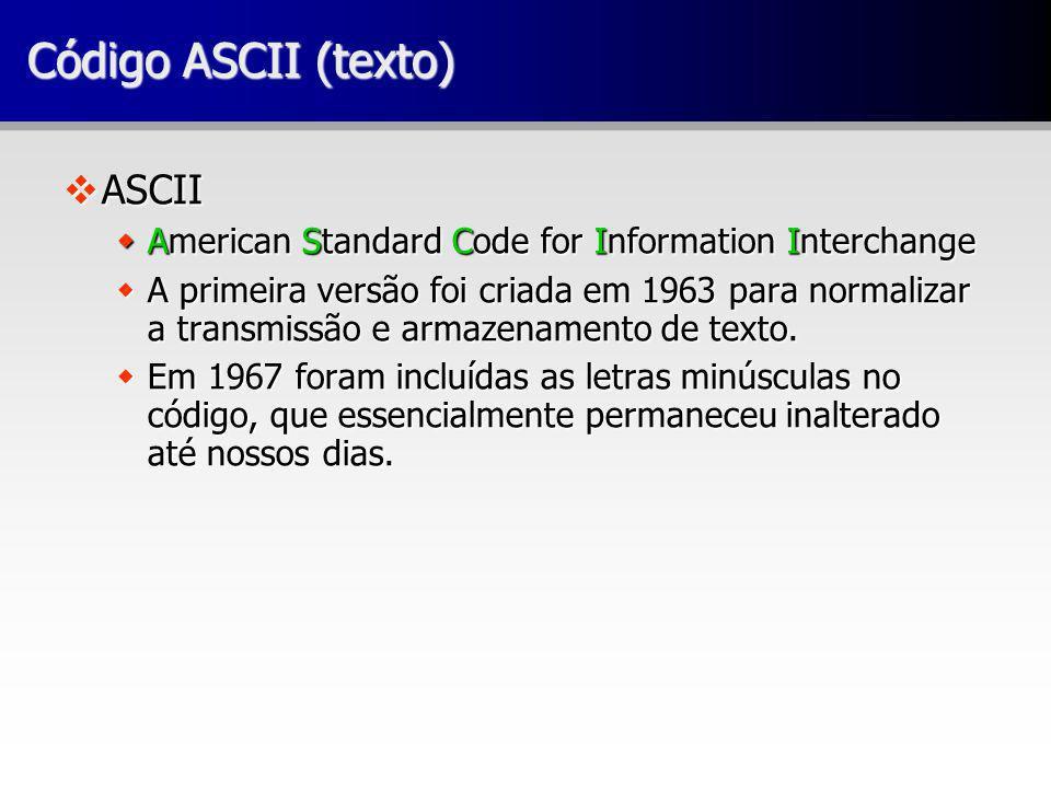 Código ASCII (texto) vASCII wAmerican Standard Code for Information Interchange wA primeira versão foi criada em 1963 para normalizar a transmissão e armazenamento de texto.
