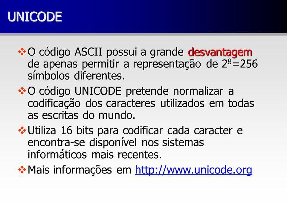 UNICODEUNICODE vO código ASCII possui a grande desvantagem de apenas permitir a representação de 2 8 =256 símbolos diferentes. vO código UNICODE prete