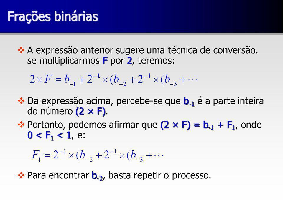 Frações binárias vA expressão anterior sugere uma técnica de conversão. se multiplicarmos F por 2, teremos: vDa expressão acima, percebe-se que b -1 é