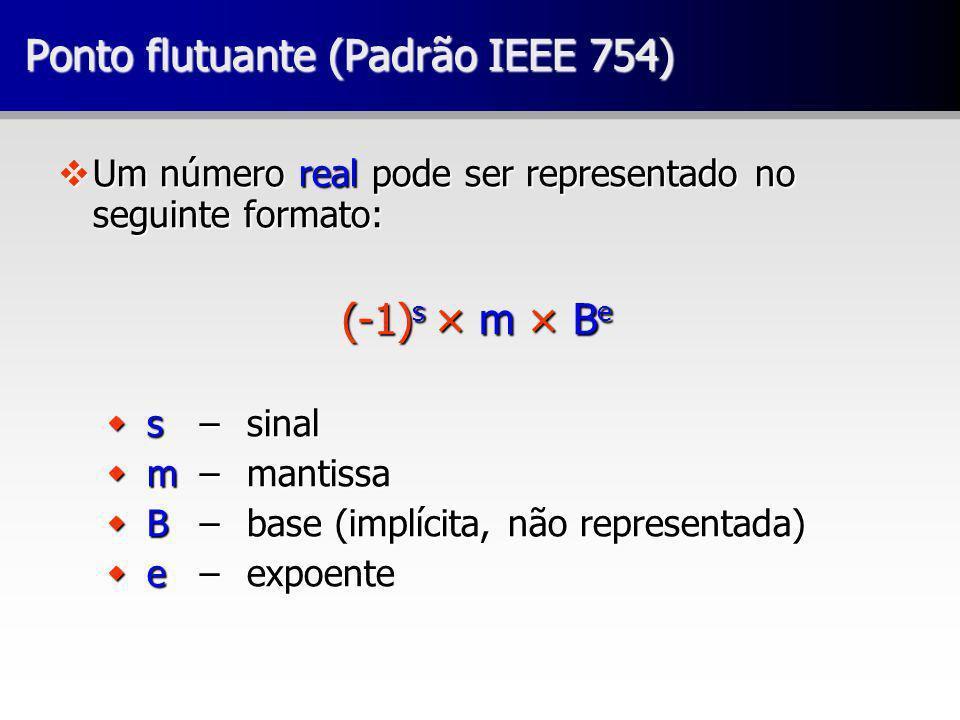 Ponto flutuante (Padrão IEEE 754) vUm número real pode ser representado no seguinte formato: (-1) s × m × B e w s – sinal w m – mantissa w B – base (implícita, não representada) w e – expoente