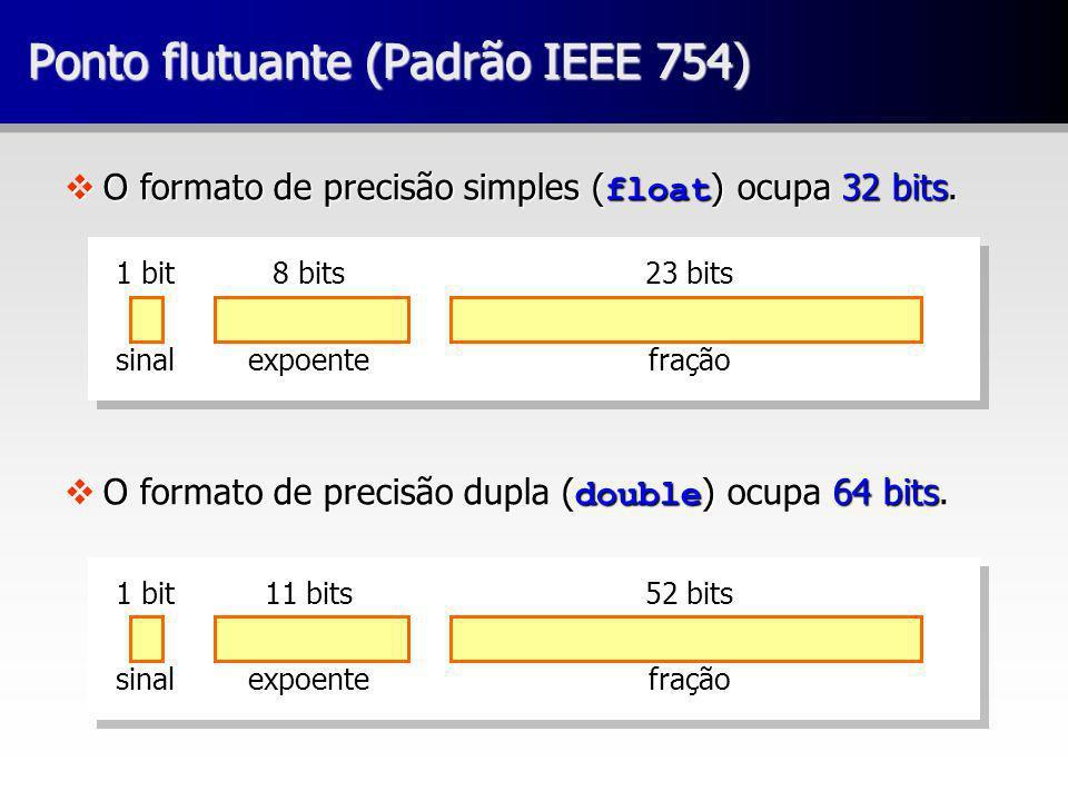 Ponto flutuante (Padrão IEEE 754) O formato de precisão simples ( float ) ocupa 32 bits. O formato de precisão simples ( float ) ocupa 32 bits. O form