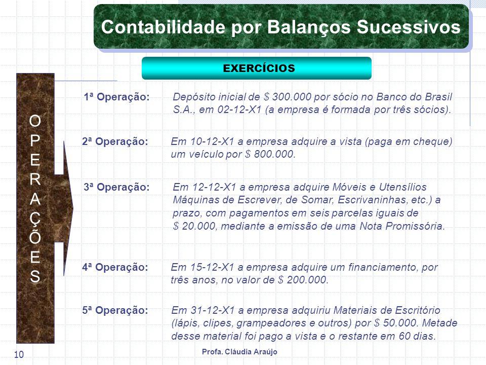 Profa. Cláudia Araújo 10 1ª Operação:Depósito inicial de $ 300.000 por sócio no Banco do Brasil S.A., em 02-12-X1 (a empresa é formada por três sócios