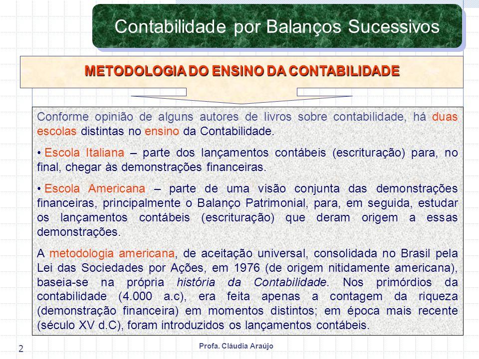 Profa. Cláudia Araújo 2 Contabilidade por Balanços Sucessivos Conforme opinião de alguns autores de livros sobre contabilidade, há duas escolas distin
