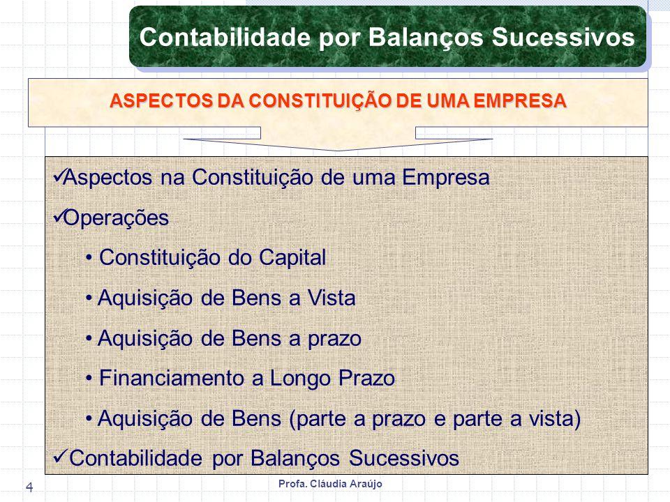 Profa. Cláudia Araújo 4 Aspectos na Constituição de uma Empresa Operações Constituição do Capital Aquisição de Bens a Vista Aquisição de Bens a prazo