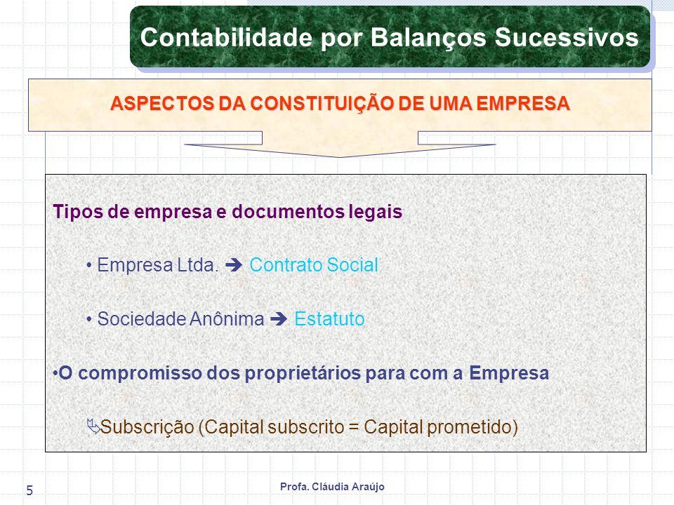 Profa. Cláudia Araújo 5 Tipos de empresa e documentos legais Empresa Ltda. Contrato Social Sociedade Anônima Estatuto O compromisso dos proprietários
