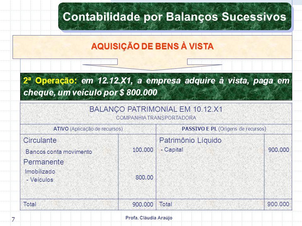 Profa. Cláudia Araújo 7 2ª Operação: em 12.12.X1, a empresa adquire à vista, paga em cheque, um veículo por $ 800.000 AQUISIÇÃO DE BENS À VISTA Contab