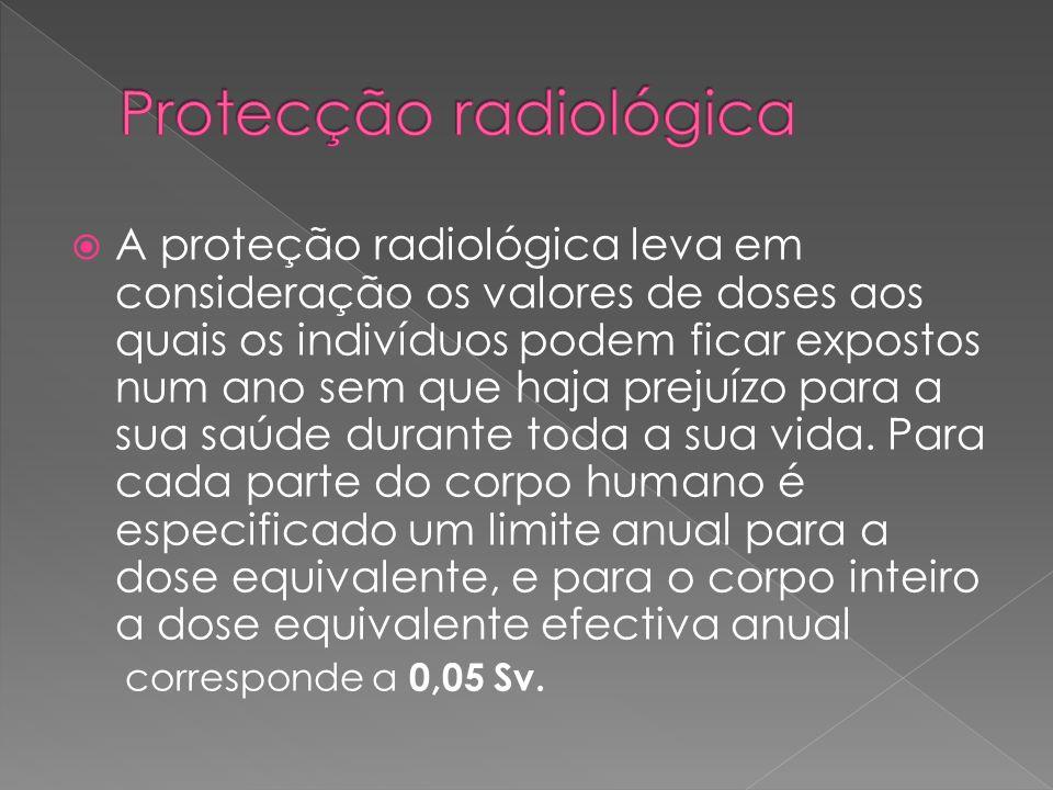 A proteção radiológica leva em consideração os valores de doses aos quais os indivíduos podem ficar expostos num ano sem que haja prejuízo para a sua