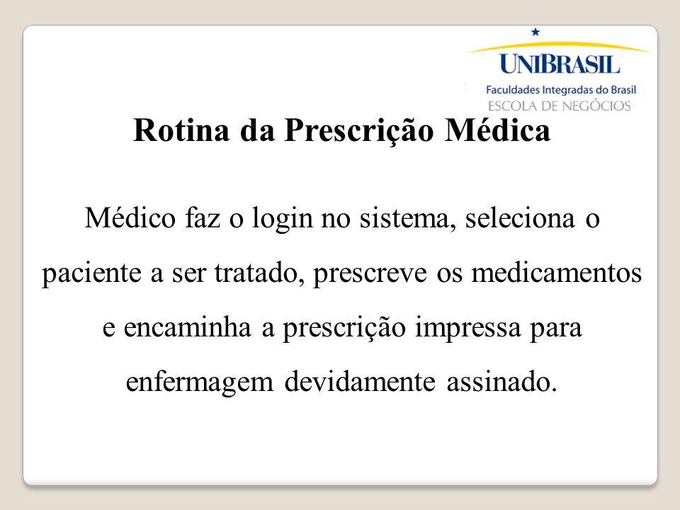 Rotina da Prescrição Médica Médico faz o login no sistema, seleciona o paciente a ser tratado, prescreve os medicamentos e encaminha a prescrição impr