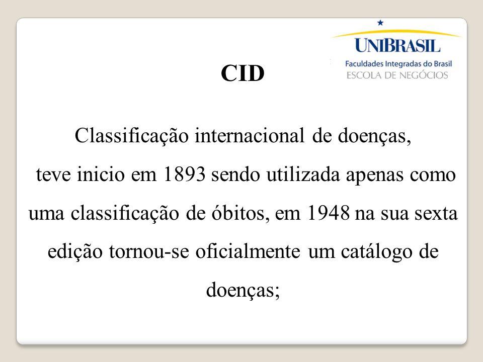 CID Classificação internacional de doenças, teve inicio em 1893 sendo utilizada apenas como uma classificação de óbitos, em 1948 na sua sexta edição t