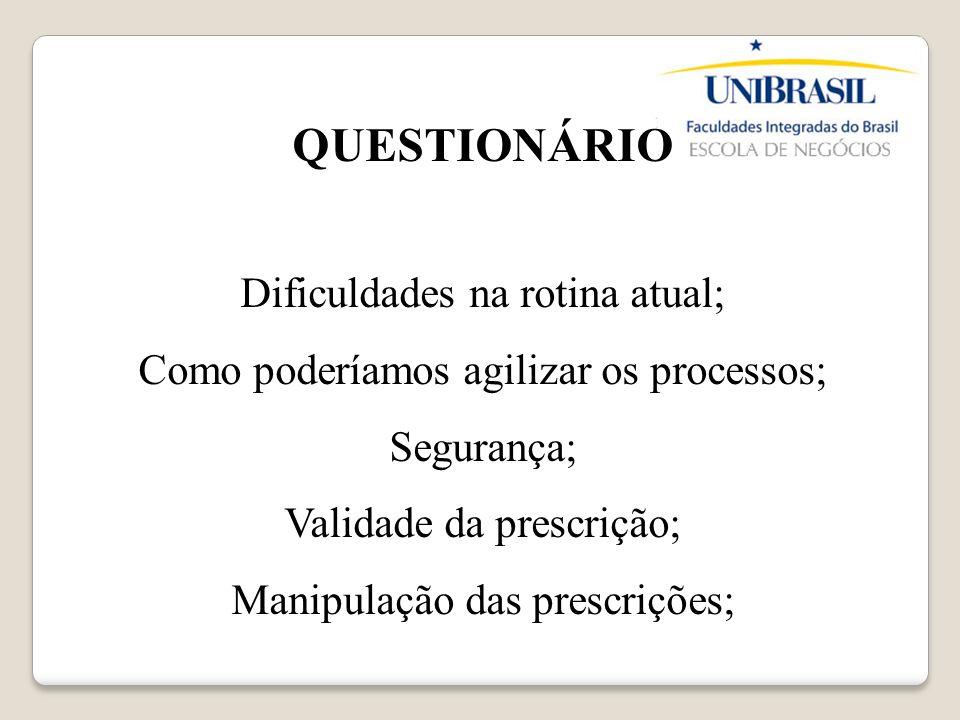 QUESTIONÁRIO Dificuldades na rotina atual; Como poderíamos agilizar os processos; Segurança; Validade da prescrição; Manipulação das prescrições;