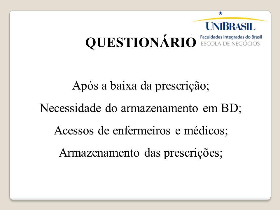 QUESTIONÁRIO Após a baixa da prescrição; Necessidade do armazenamento em BD; Acessos de enfermeiros e médicos; Armazenamento das prescrições;