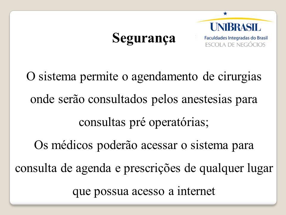 Segurança O sistema permite o agendamento de cirurgias onde serão consultados pelos anestesias para consultas pré operatórias; Os médicos poderão aces