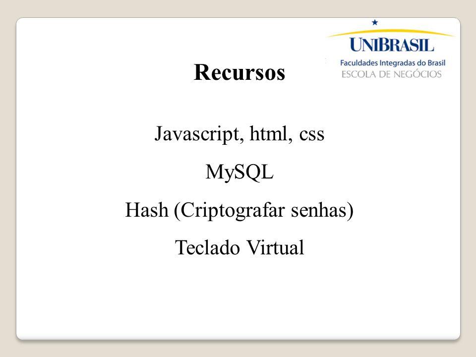 Recursos Javascript, html, css MySQL Hash (Criptografar senhas) Teclado Virtual