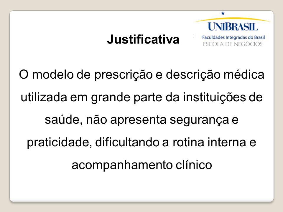 Justificativa O modelo de prescrição e descrição médica utilizada em grande parte da instituições de saúde, não apresenta segurança e praticidade, dif