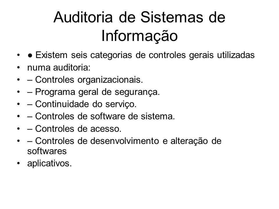 Auditoria de Sistemas de Informação Existem seis categorias de controles gerais utilizadas numa auditoria: – Controles organizacionais. – Programa ger