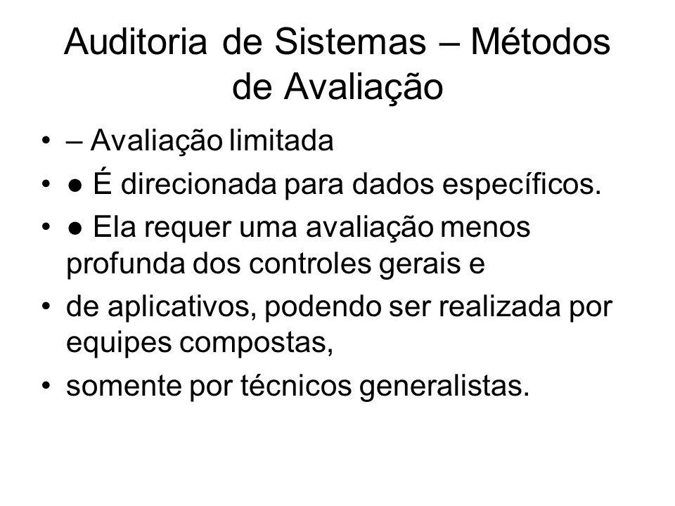 Auditoria de Sistemas – Métodos de Avaliação – Avaliação limitada É direcionada para dados específicos. Ela requer uma avaliação menos profunda dos co