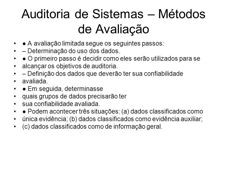 Auditoria de Sistemas – Métodos de Avaliação A avaliação limitada segue os seguintes passos: – Levantamento do conhecimento prévio sobre o sistema e/ou os dados.