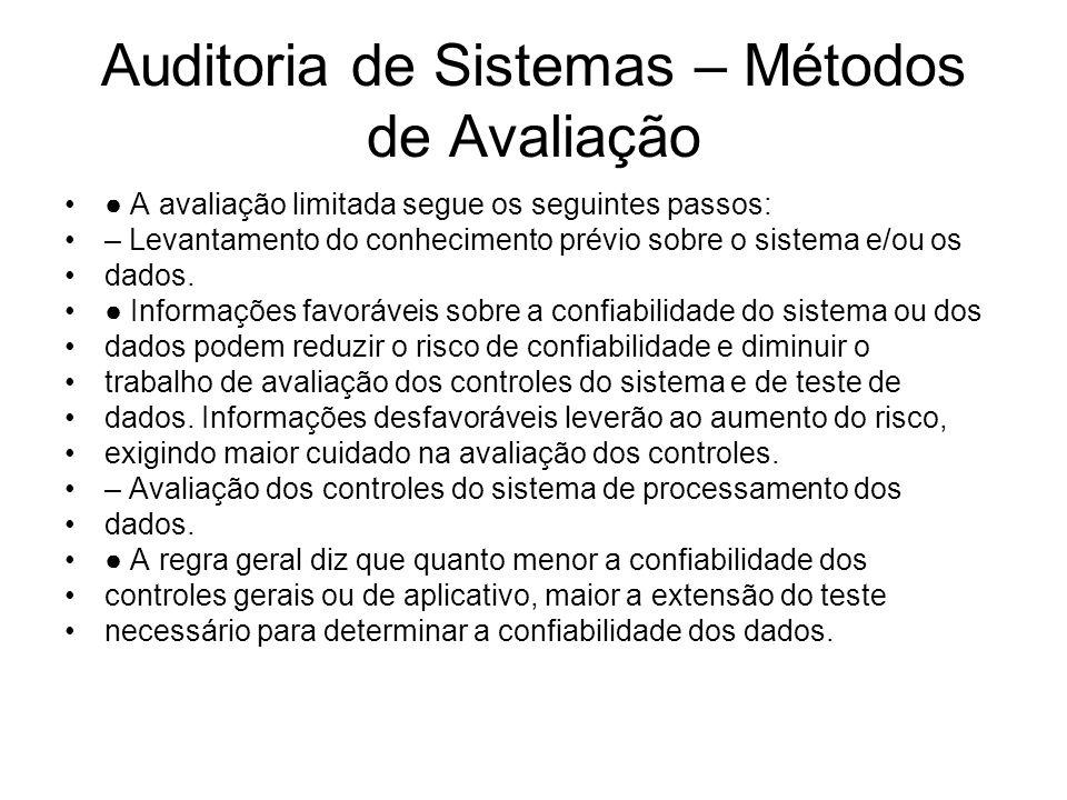 Auditoria de Sistemas – Métodos de Avaliação A avaliação limitada segue os seguintes passos: – Levantamento do conhecimento prévio sobre o sistema e/o