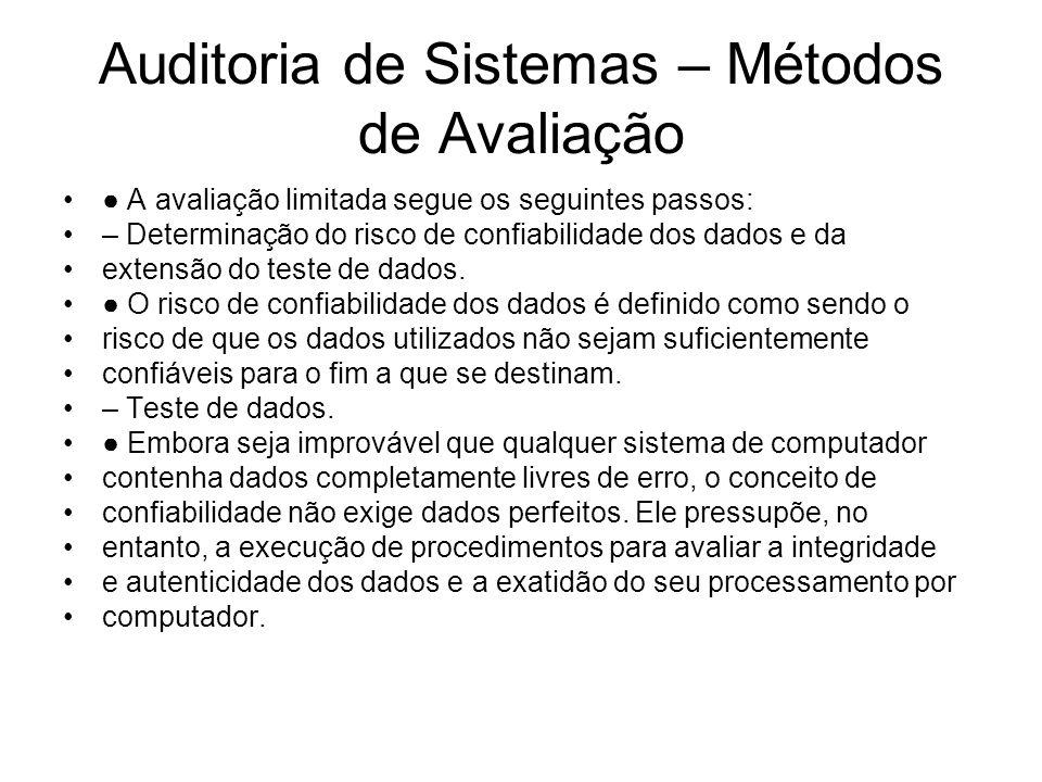 Auditoria de Sistemas – Métodos de Avaliação A avaliação limitada segue os seguintes passos: – Determinação do risco de confiabilidade dos dados e da