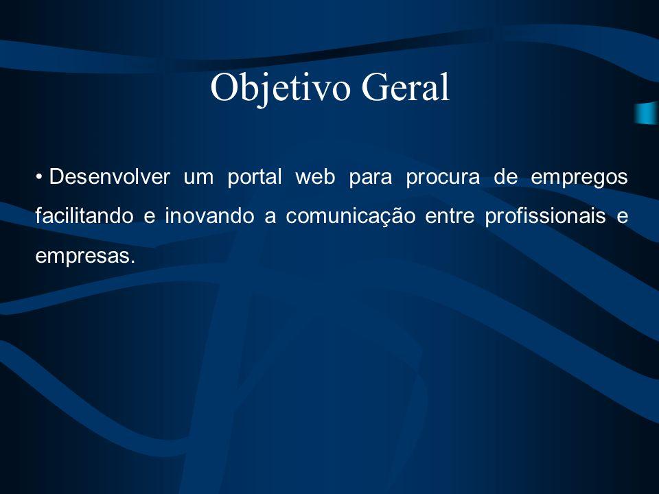 Objetivo Geral Desenvolver um portal web para procura de empregos facilitando e inovando a comunicação entre profissionais e empresas.