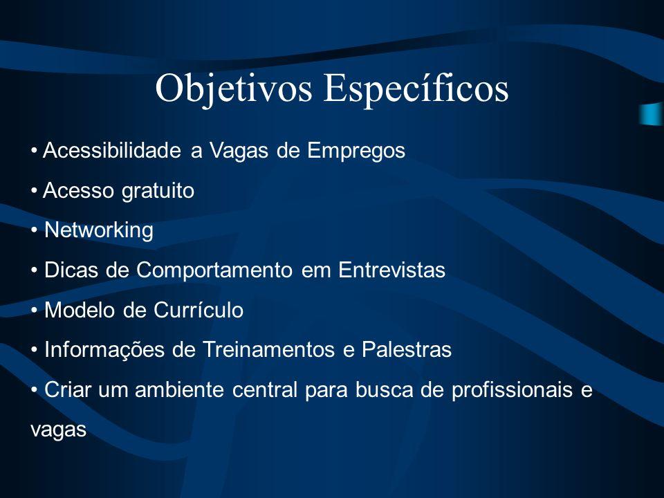 Objetivos Específicos Acessibilidade a Vagas de Empregos Acesso gratuito Networking Dicas de Comportamento em Entrevistas Modelo de Currículo Informaç