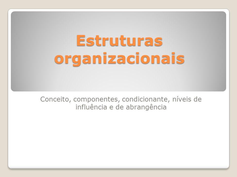 Estruturas organizacionais Conceito, componentes, condicionante, níveis de influência e de abrangência
