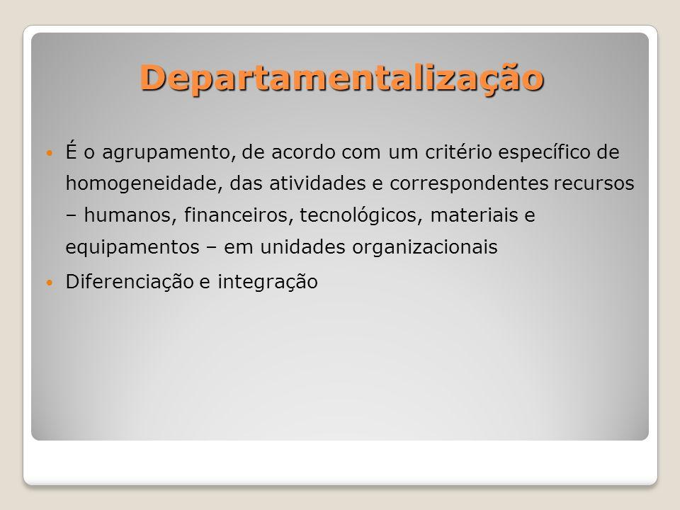 Departamentalização É o agrupamento, de acordo com um critério específico de homogeneidade, das atividades e correspondentes recursos – humanos, financeiros, tecnológicos, materiais e equipamentos – em unidades organizacionais Diferenciação e integração