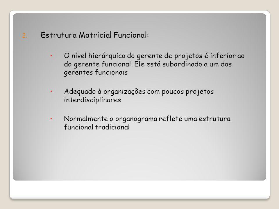 2. Estrutura Matricial Funcional: O nível hierárquico do gerente de projetos é inferior ao do gerente funcional. Ele está subordinado a um dos gerente