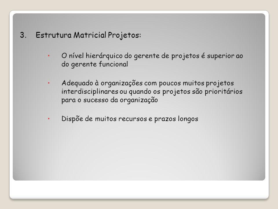 3. Estrutura Matricial Projetos: O nível hierárquico do gerente de projetos é superior ao do gerente funcional Adequado à organizações com poucos muit