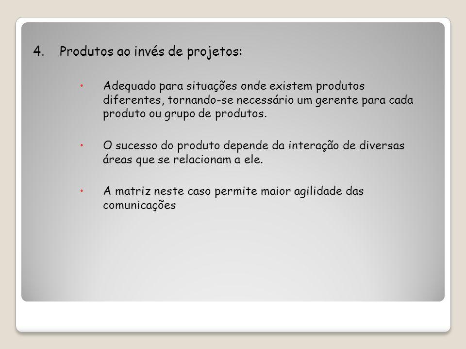 4. Produtos ao invés de projetos: Adequado para situações onde existem produtos diferentes, tornando-se necessário um gerente para cada produto ou gru