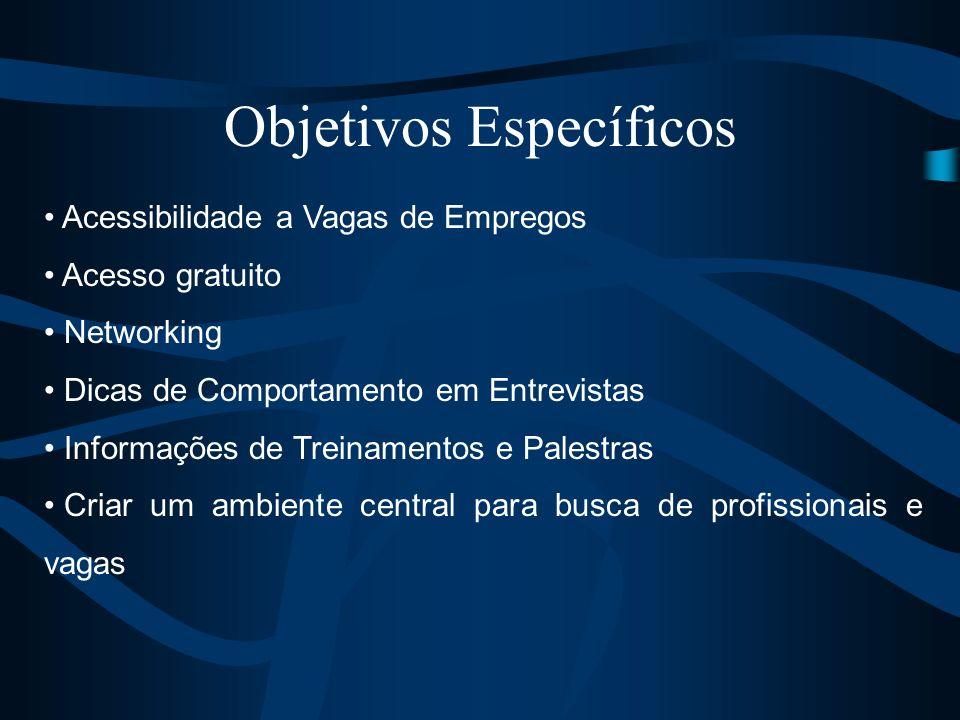 Objetivos Específicos Acessibilidade a Vagas de Empregos Acesso gratuito Networking Dicas de Comportamento em Entrevistas Informações de Treinamentos