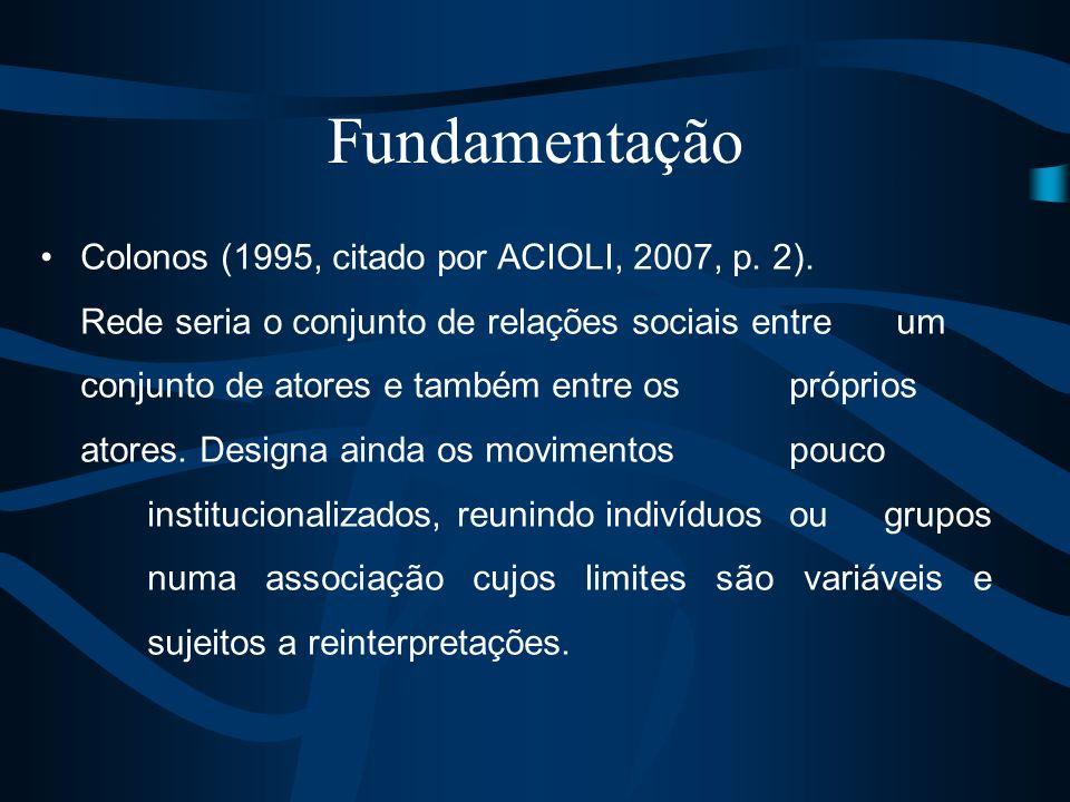 Colonos (1995, citado por ACIOLI, 2007, p. 2). Rede seria o conjunto de relações sociais entre um conjunto de atores e também entre os próprios atores