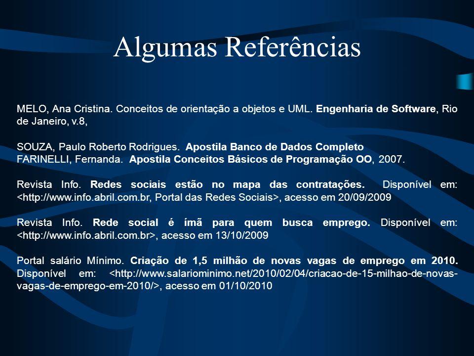 Algumas Referências MELO, Ana Cristina. Conceitos de orientação a objetos e UML. Engenharia de Software, Rio de Janeiro, v.8, SOUZA, Paulo Roberto Rod