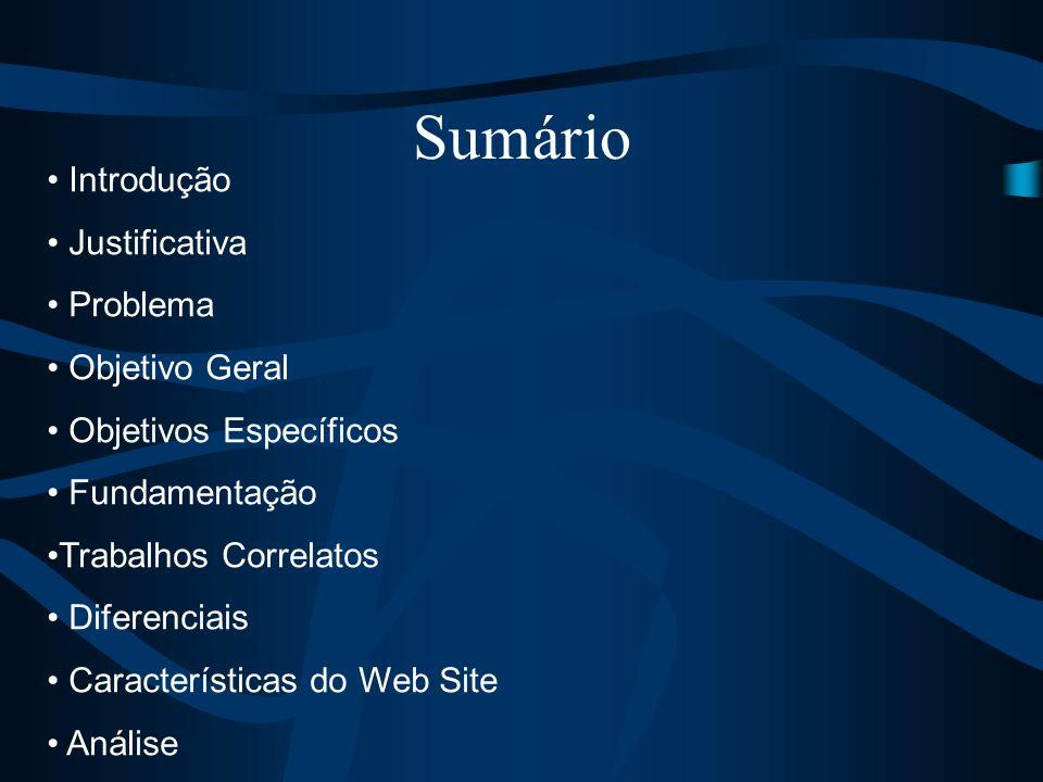 Sumário Introdução Justificativa Problema Objetivo Geral Objetivos Específicos Fundamentação Trabalhos Correlatos Diferenciais Características do Web