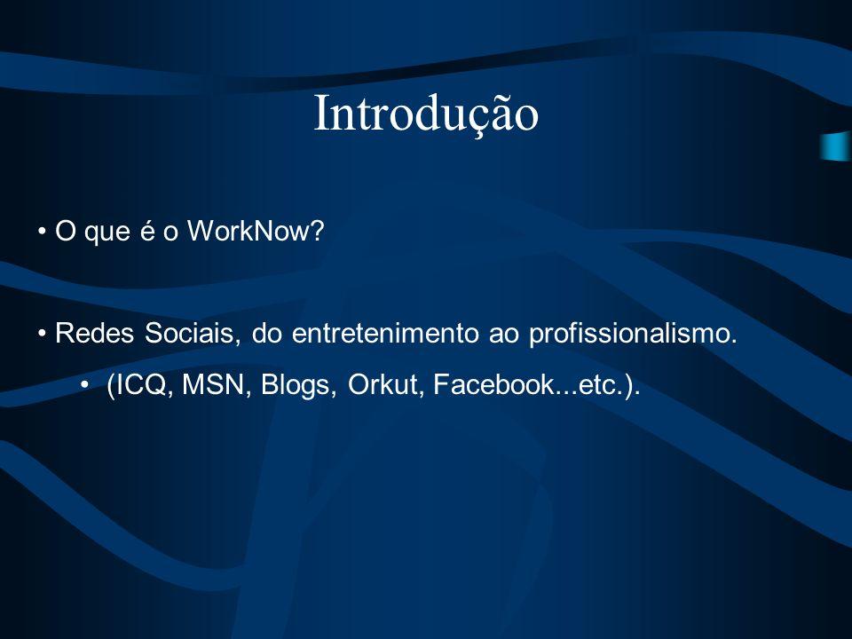 O que é o WorkNow? Redes Sociais, do entretenimento ao profissionalismo. (ICQ, MSN, Blogs, Orkut, Facebook...etc.). Introdução