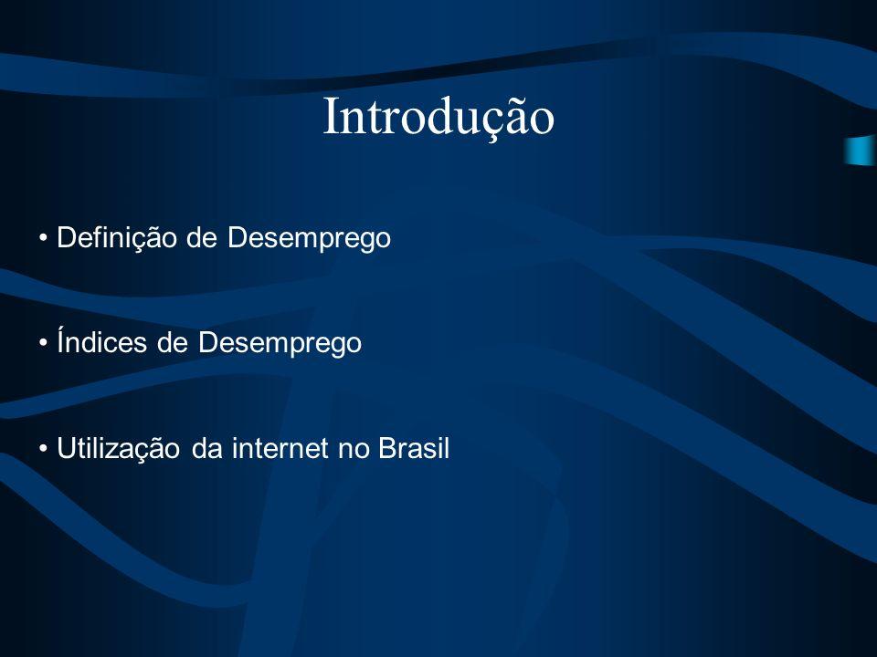 Definição de Desemprego Índices de Desemprego Utilização da internet no Brasil