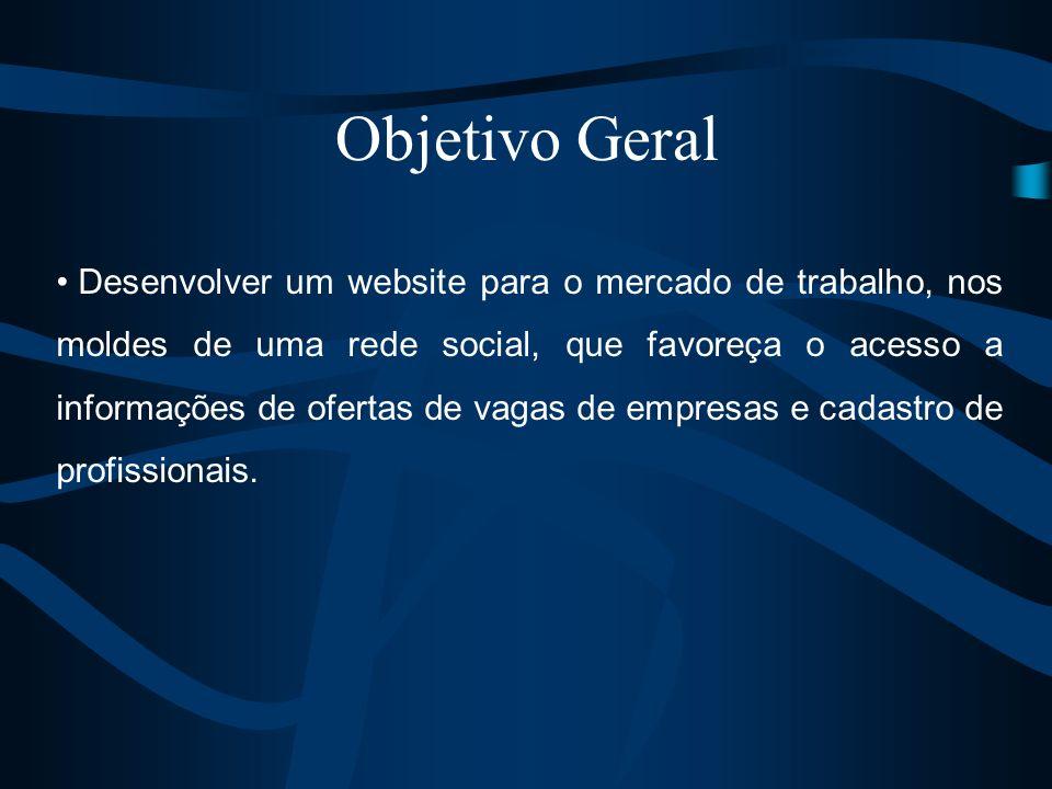 Objetivo Geral Desenvolver um website para o mercado de trabalho, nos moldes de uma rede social, que favoreça o acesso a informações de ofertas de vag