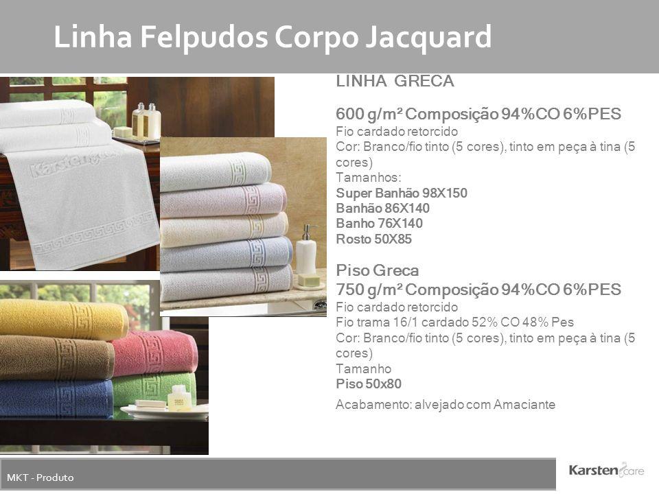MKT - Produto Linha Felpudos Corpo Jacquard LINHA GRECA 600 g/m² Composição 94%CO 6%PES Fio cardado retorcido Cor: Branco/fio tinto (5 cores), tinto e