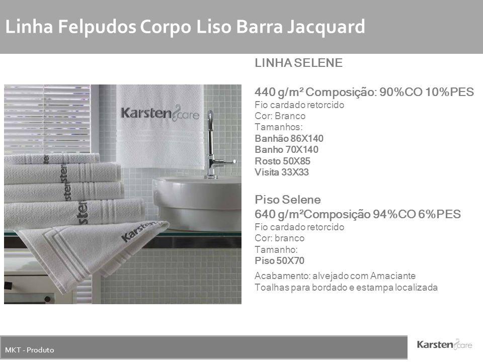 MKT - Produto Linha Felpudos Corpo Liso Barra Jacquard LINHA SELENE 440 g/m² Composição: 90%CO 10%PES Fio cardado retorcido Cor: Branco Tamanhos: Banh