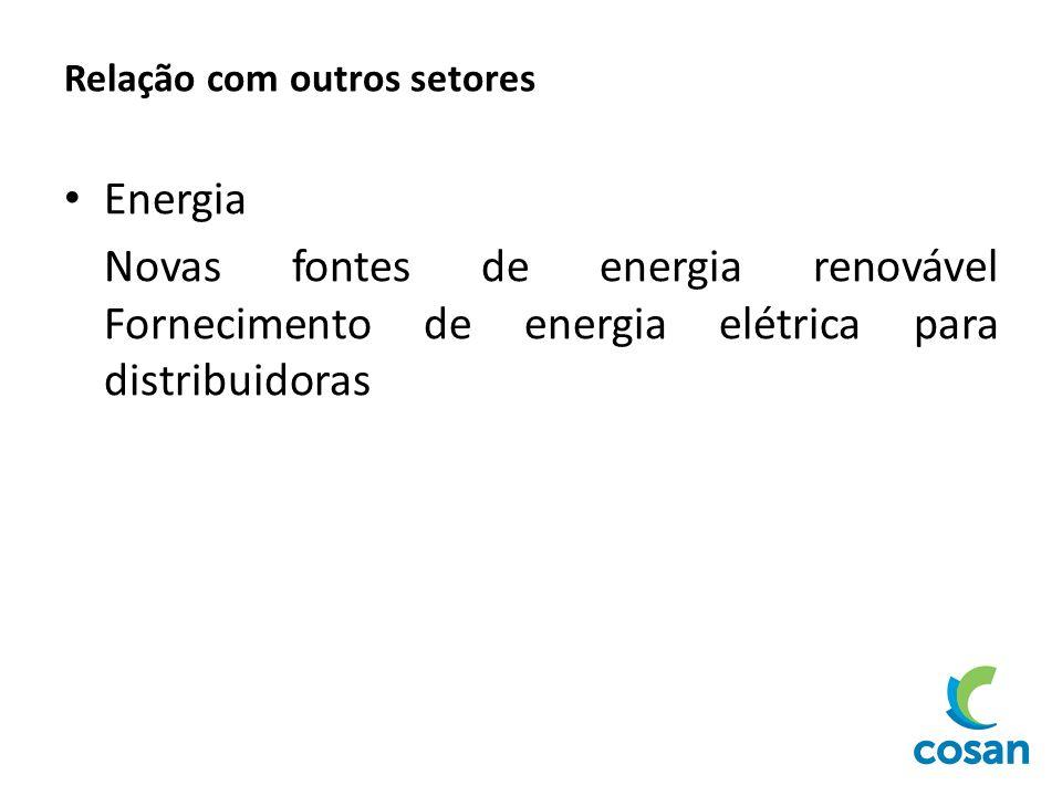 Relação com outros setores Energia Novas fontes de energia renovável Fornecimento de energia elétrica para distribuidoras