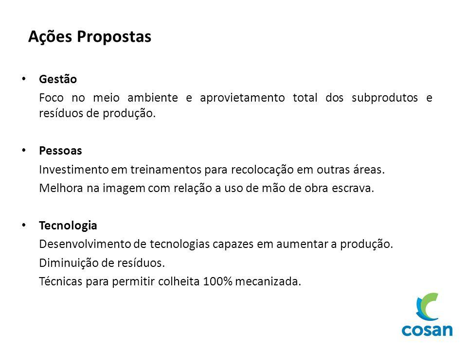 Ações Propostas Gestão Foco no meio ambiente e aprovietamento total dos subprodutos e resíduos de produção. Pessoas Investimento em treinamentos para