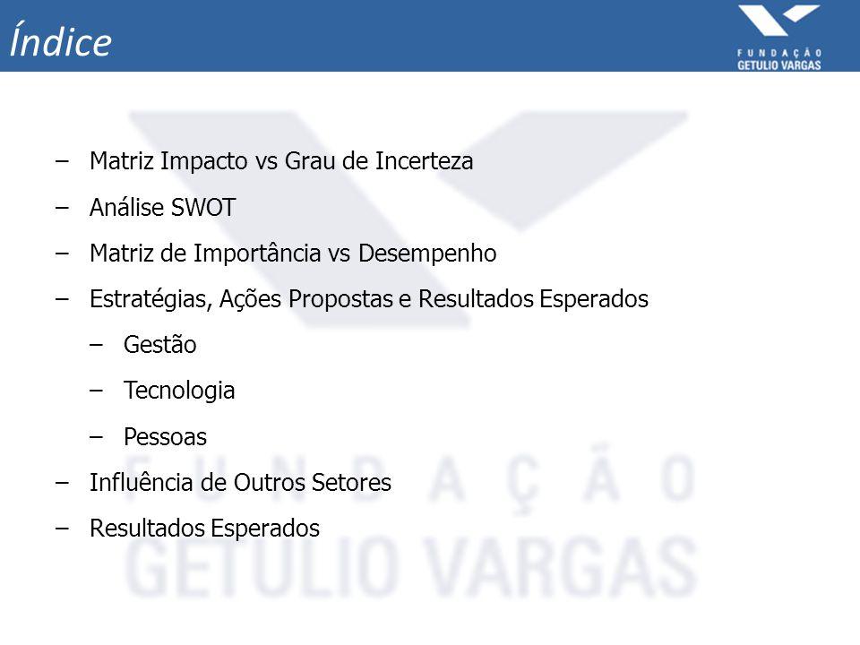 –Matriz Impacto vs Grau de Incerteza –Análise SWOT –Matriz de Importância vs Desempenho –Estratégias, Ações Propostas e Resultados Esperados –Gestão –