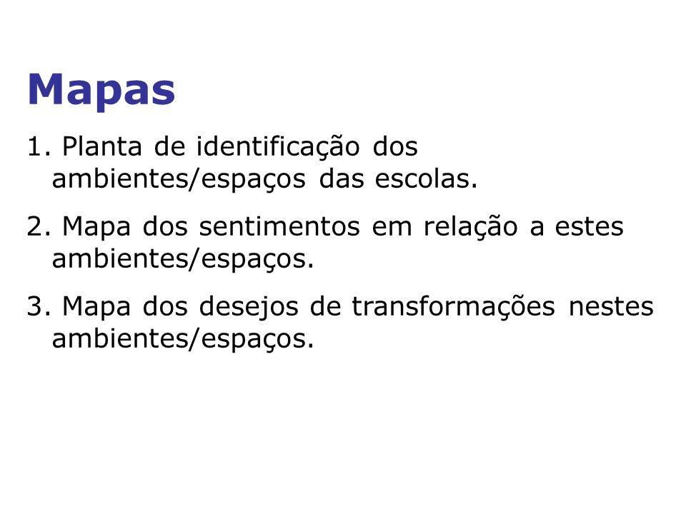 Mapas 1. Planta de identificação dos ambientes/espaços das escolas.