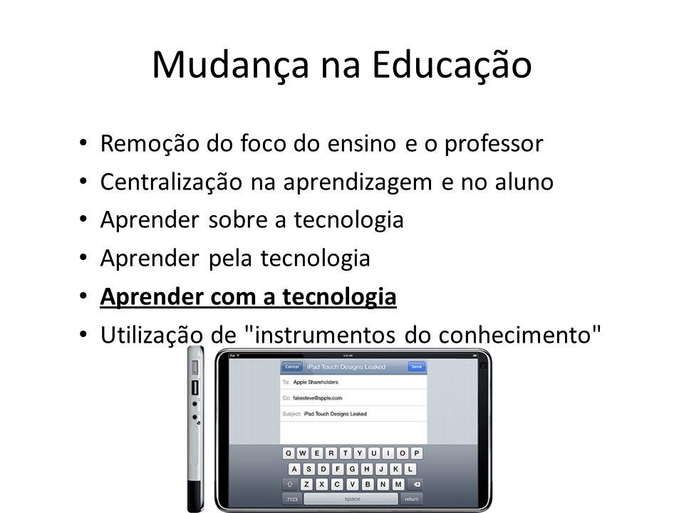 Mudança na Educação Remoção do foco do ensino e o professor Centralização na aprendizagem e no aluno Aprender sobre a tecnologia Aprender pela tecnolo